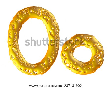 Gold alphabet symbol - Big & lowercase letter on isolated white. - stock photo