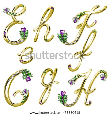 Gold alphabet with diamonds and gems letters E,F,G,H (see eps version in my portfolio) - stock photo