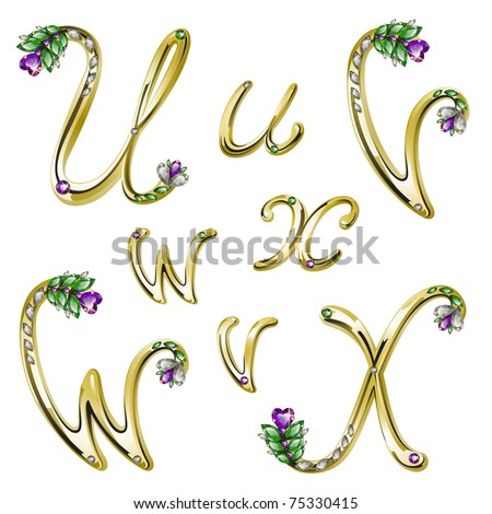 Gold alphabet with diamonds and gems letters U,V,W,X (see eps version in my portfolio) - stock photo