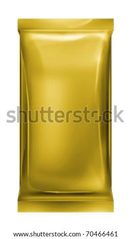 gold aluminum foil bag isolated on white background - stock photo