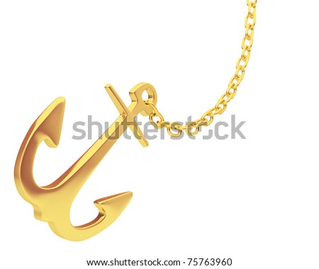 gold anchor and chain isolated over white background - stock photo