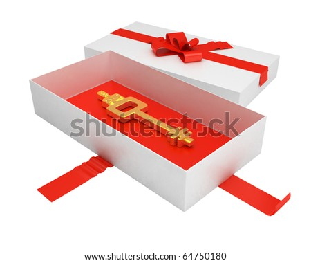 gold ancient key at the bottom of opened gift box - stock photo