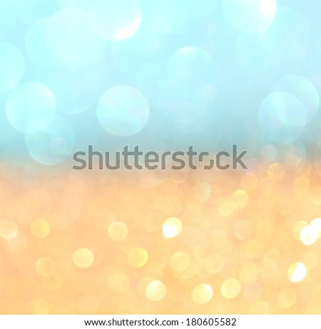 gold and blue boke or defocused lights background