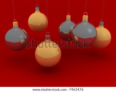 Gold and chrome Christmas balls with red background. - stock photo