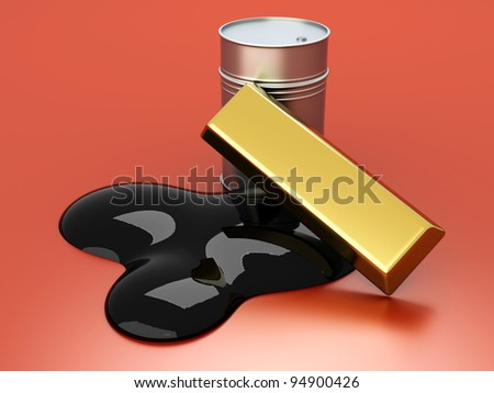 Gold and Oil, two commodities on the stock market. 3D rendered Illustration. - stock photo
