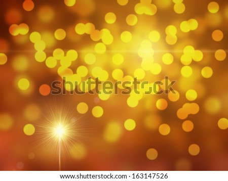 Gold and orange holiday bokeh with sparkle - stock photo