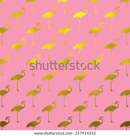 Gold and Pink Flamingo Pattern Flamingos Polk Dot Background Texture - stock photo
