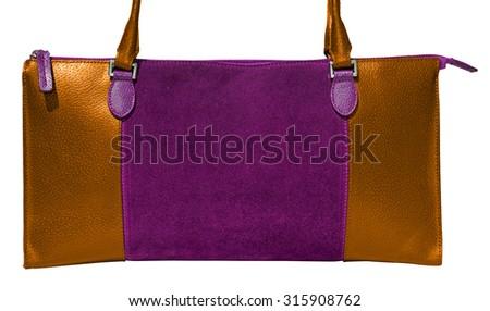 Gold and purple ladies handbag genuine leather - stock photo