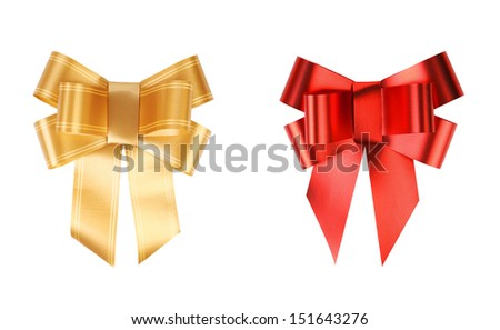 Gold and red bows.