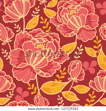 Gold and red flowers seamless pattern background raster