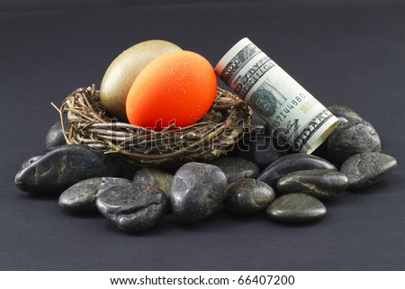 """Gold and red nest eggs """"on the rocks"""" with dollar leaning against nest; Investments in precarious times with risk and opportunity; - stock photo"""