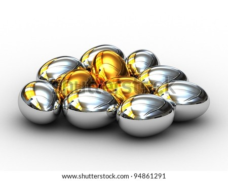 Gold and silver Easter eggs on a white background