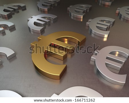 Gold and silver euro sign on the metal background (depth of field) - stock photo