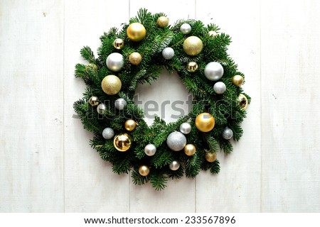 Gold and silver ornament balls Christmas wreath - stock photo
