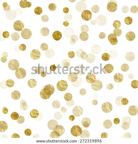 Gold and White Dots Faux Foil Metallic Background Pattern Texture - stock photo