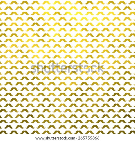 Gold and White Mustache Faux Foil Metallic Mustaches Polka Dot Pattern Texture - stock photo