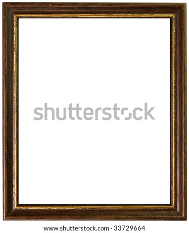 gold and wooden antique frame isolated on white background - stock photo