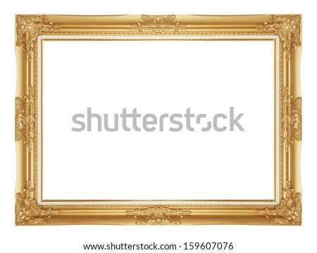 Gold antique frame isolated on white background. - stock photo