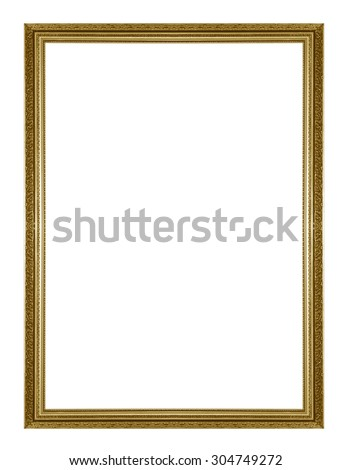 Gold antique picture frame - stock photo