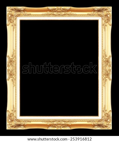 gold antique picture frames. Isolated on black background - stock photo