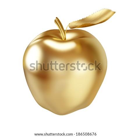 Gold apple isolated on white - 3D illustration. - stock photo