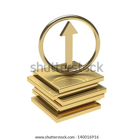 Gold arrow pointing up on the gold podium. - stock photo