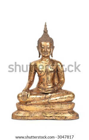 Gold Asian Buddha on a white background