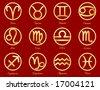 Gold Astrology Icons.  12 horoscope signs of the zodiac with titles on a crimson background: Aquarius, Aries, Cancer, Capricorn, Gemini, Leo, Libra, Pisces, Sagittarius, Scorpio, Taurus, Virgo. - stock photo