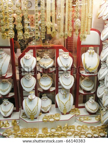 Gold at arabian bazar - stock photo