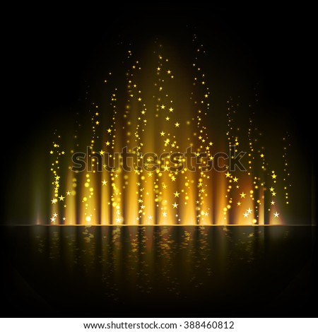 Gold aurora light. Shiny Abstract backgrounds - stock photo