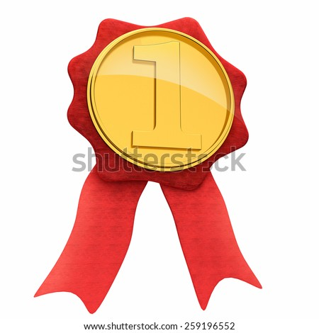 Gold award ribbon first place medal golden with red competition symbol.  - stock photo