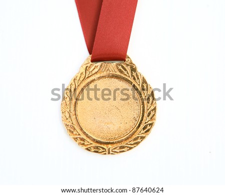 gold award ribbons on white(path in side) - stock photo