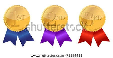 gold award ribbons with place numbers illustration design - stock photo