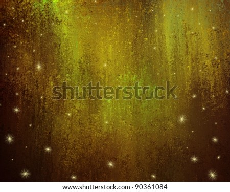 gold background with lights and stars or falling snow on vintage grunge texture with brown accent highlights for Christmas or winter announcements or invitations - stock photo