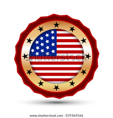 Gold badge and icon with USA flag symbol. - stock photo