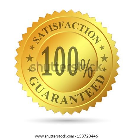 Gold Badge Satisfaction Guarantee - stock photo