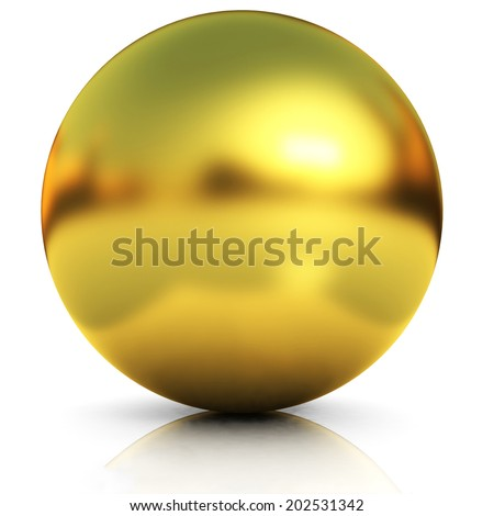 Gold Ball on a white background - stock photo