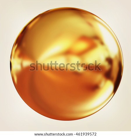 Gold Ball on a white background. 3D illustration. Vintage style.