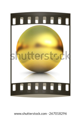 Gold Ball on a white background. The film strip - stock photo