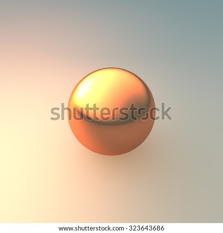 gold ball on background with metal material  - stock photo