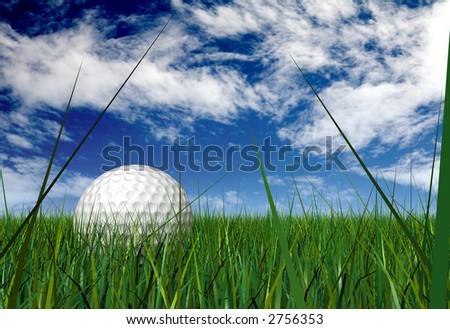 gold ball on grass blades over a blue sky - mad ein 3d - stock photo