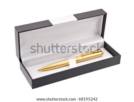 Gold ballpoint isolated - stock photo