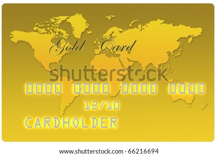 Gold Bank Card - stock photo