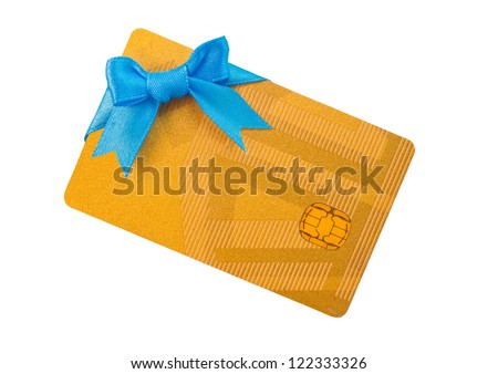 Gold bank card with blue bow - stock photo