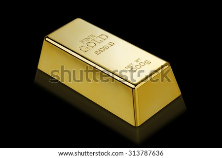 Gold bar isolated with clipping path?/?Photo of a 1kg gold bar isolated on a black background  - stock photo