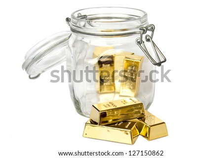 GOLD BAR jar - optional - stock photo
