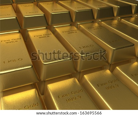 Gold Bar on top of Bed of Gold Bars a goldbar sits on top of neatly arranged bars of 1 Kilo fine gold bars. 3D rendered.