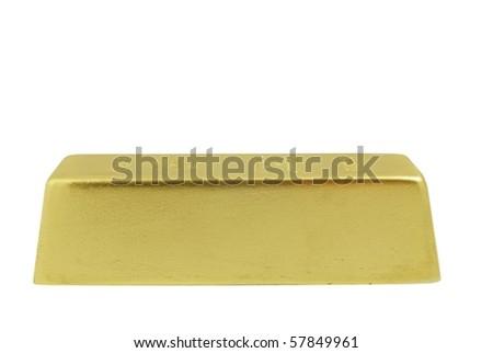gold bar on white background - stock photo
