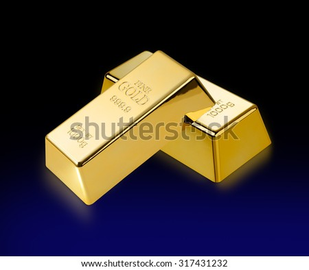 Gold bar/Photo of a 1kg gold bar isolated