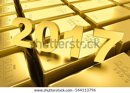 Gold bars and Financial concept,2017.3D illustration